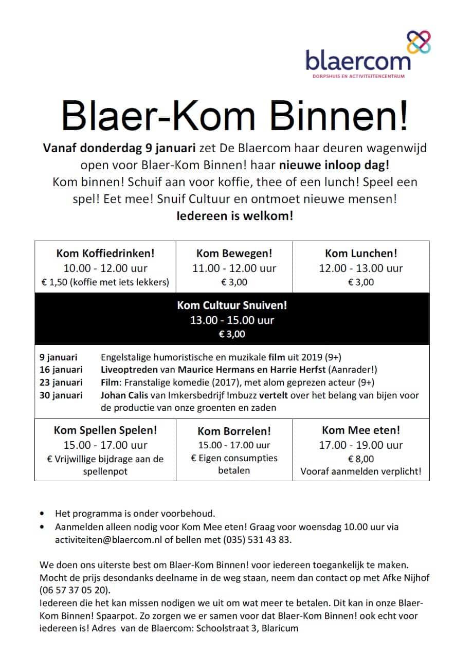 Blaer-Kom Binnen - dagactiviteiten Blaricum in dorpshuis Blaercom